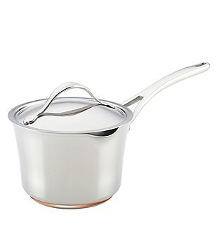 Anolon Nouvelle Copper & Stainless Steel 3.5-Quart Covered Straining Saucepan