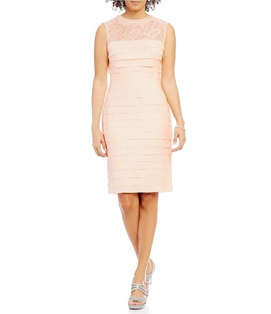 London Times Lace-Yoke Shimmer Shutter Dress