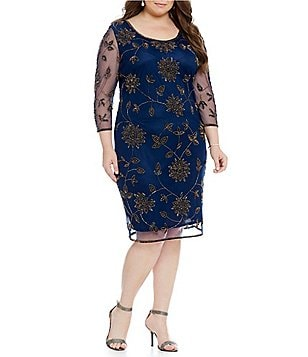 Pisarro Nights Plus Floral-Beaded Sheath Dress