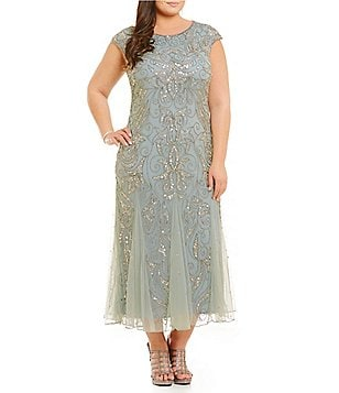 Pisarro Nights Plus Beaded Godet Dress