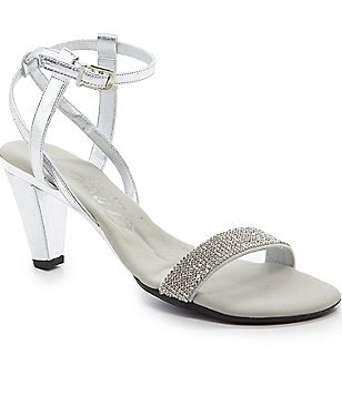 Onex Monroe Metallic Leather Jeweled Banded Ankle Strap Dress Sandals
