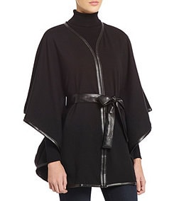 Dillard�s Cape Poncho with Faux Leather Trim