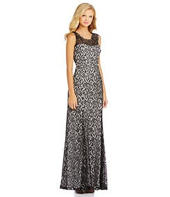 Sequin Hearts Cap-Sleeve Lace Gown