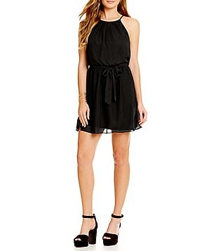 I.N. San Francisco Pleated High-Neck Tie-Waist Dress
