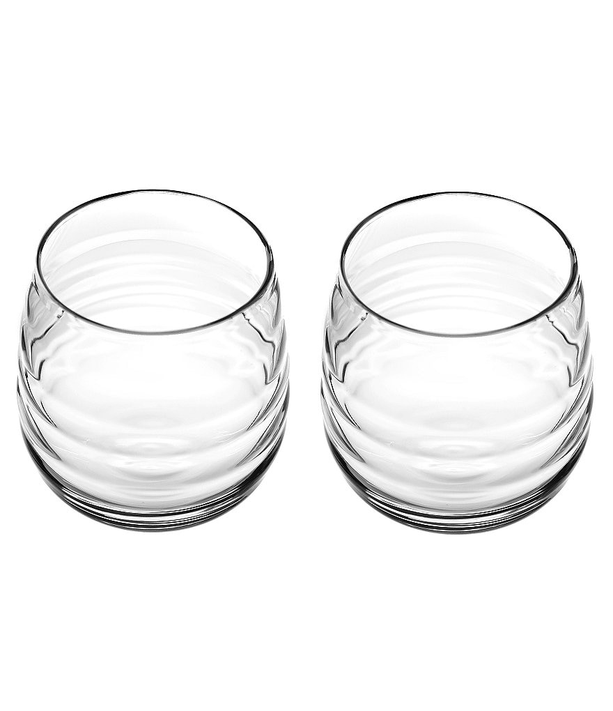 Sophie Conran for Portmeirion Ribbed Balloon Double Old Fashioned Glass Pair