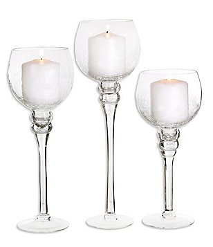 Home Essentials Clear Charisma Crackle Glass Hurricanes, Set of 3