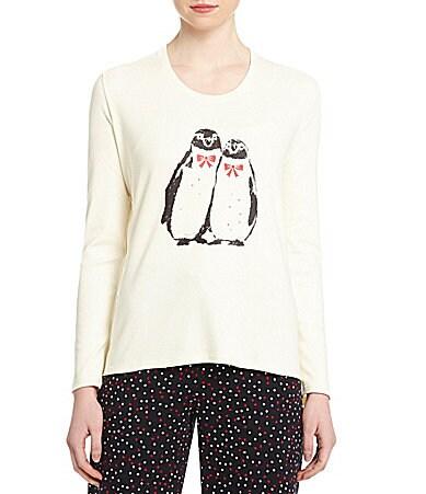 Penguins long sleeve christmas holiday pajama top dillards com