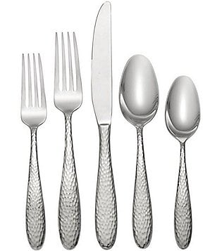 Oneida Reyna Hammered 45-Piece Stainless Steel Flatware Set