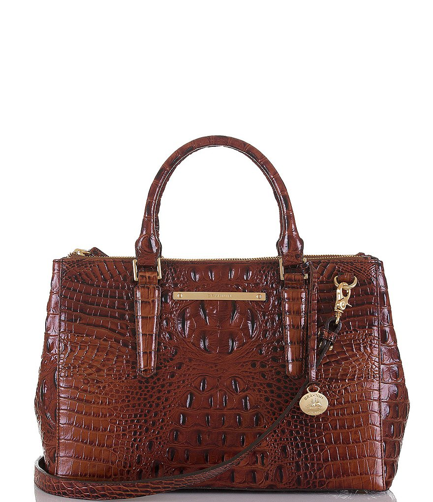 Brahmin Melbourne Collection Small Lincoln Croco Embossed Satchel