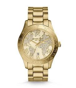 Michael Kors Layton Goldtone Pav� World Map Dial Watch