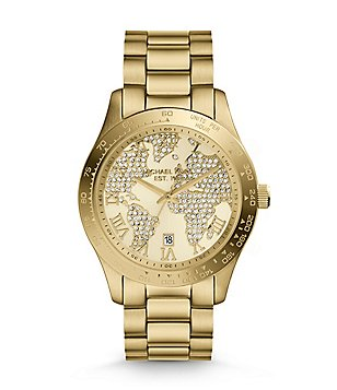 Michael Kors Layton Stainless Steel Pavé World Map Dial Watch