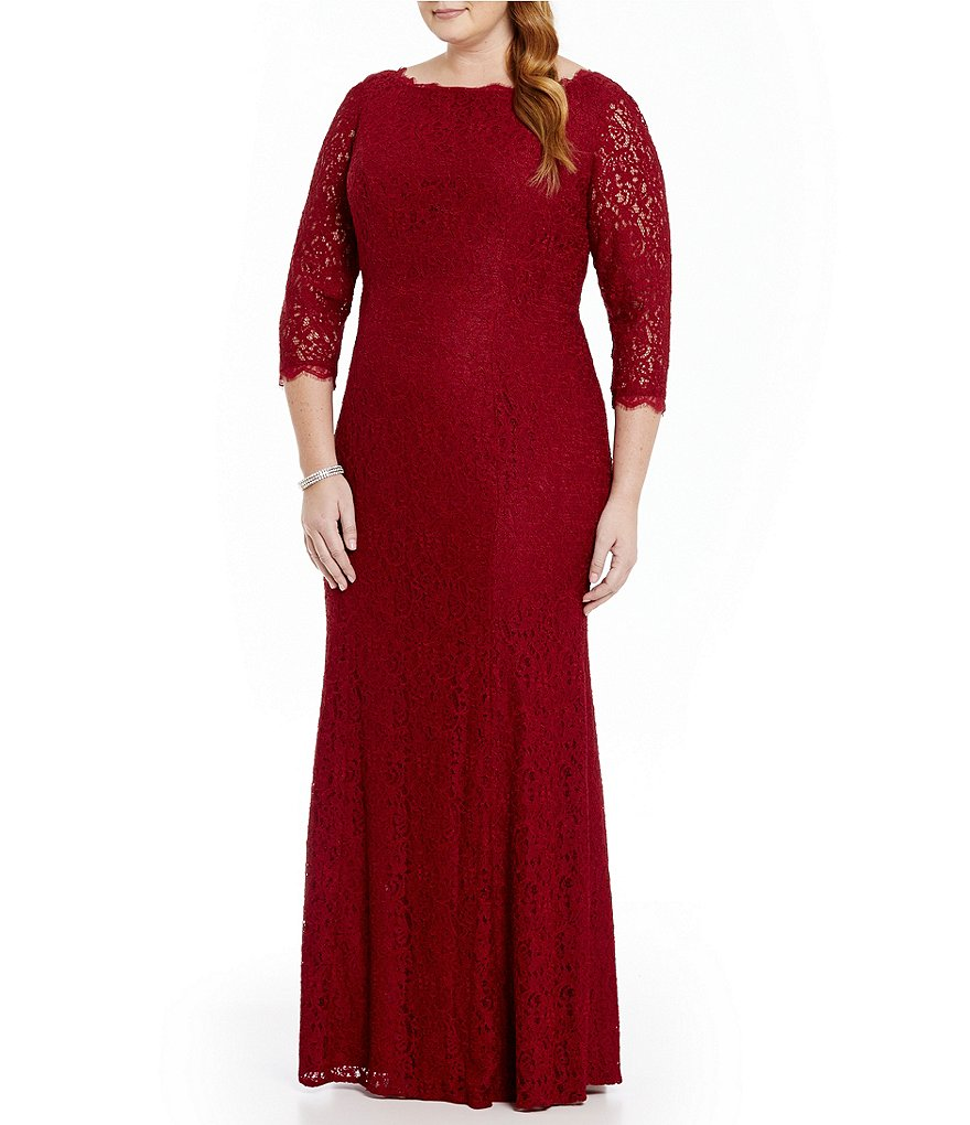 Adrianna Papell Plus Lace Mermaid Gown