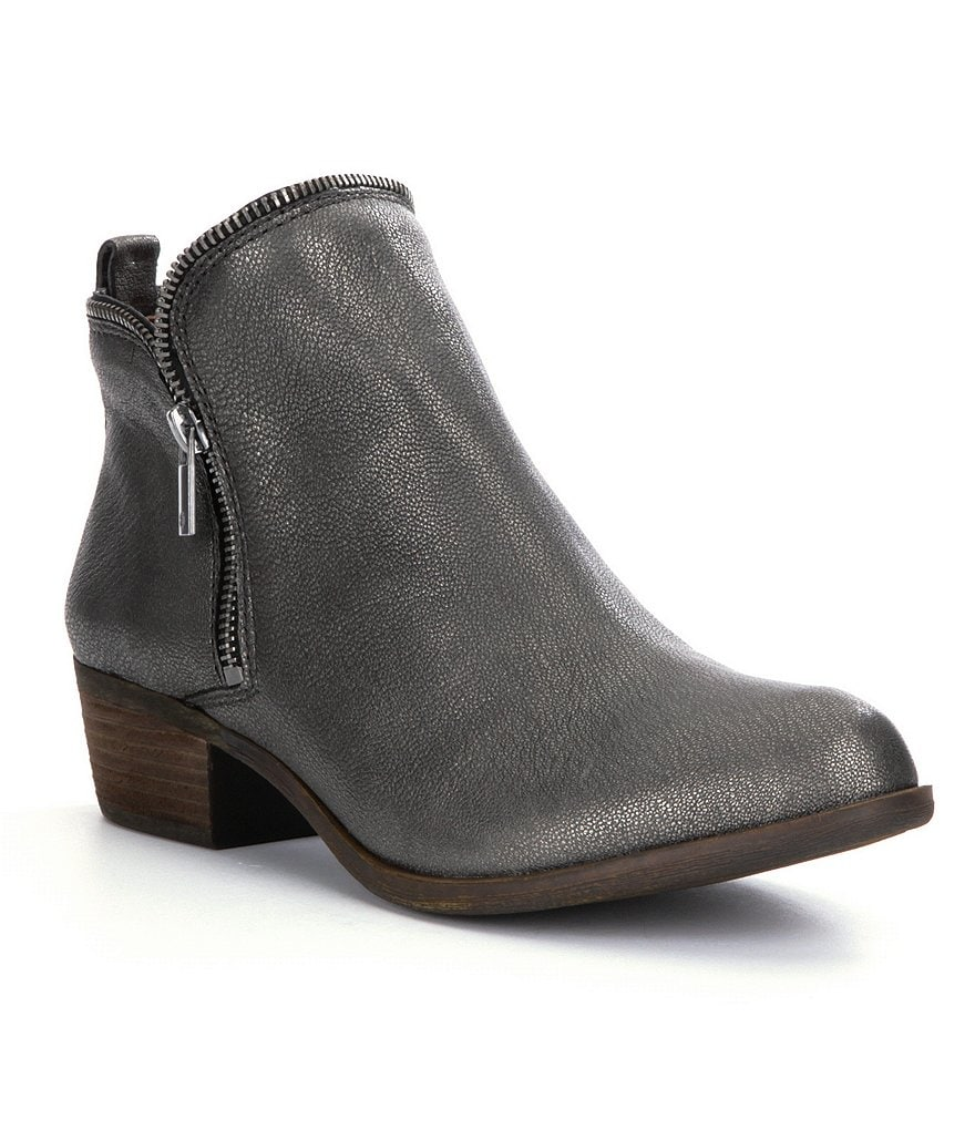 Lucky Brand Bartalino Side Zip Metallic Leather Booties