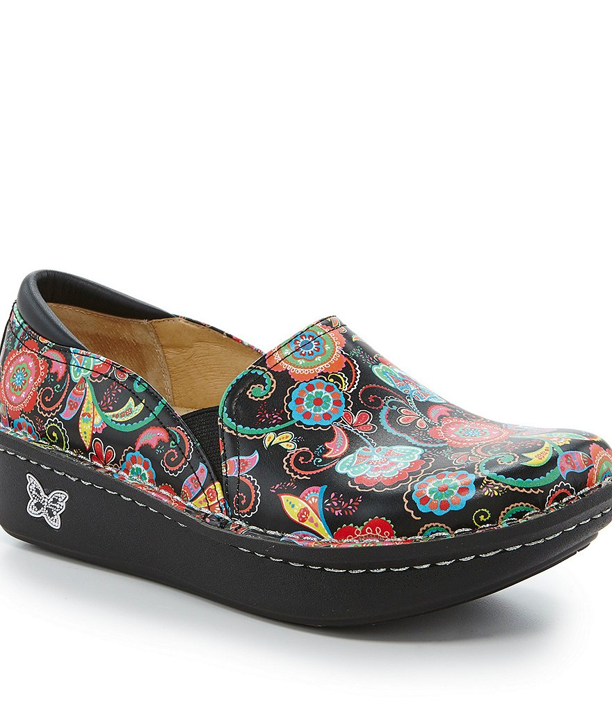 Alegria Debra Professional Stain-Resistant Patterned Leather Slip-On Clogs