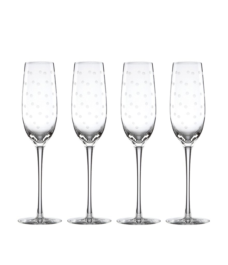 kate spade new york Larabee Road Dotted Crystal Flutes, Set of 4
