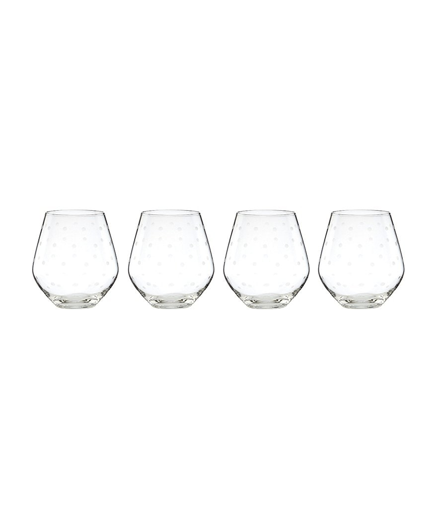 kate spade new york Larabee Road Dotted Crystal Stemless Red Wine Glasses, Set of 4