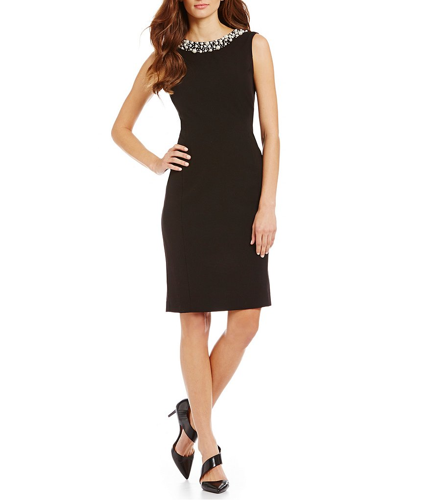 Calvin Klein Pearl Neckline Sheath Dress