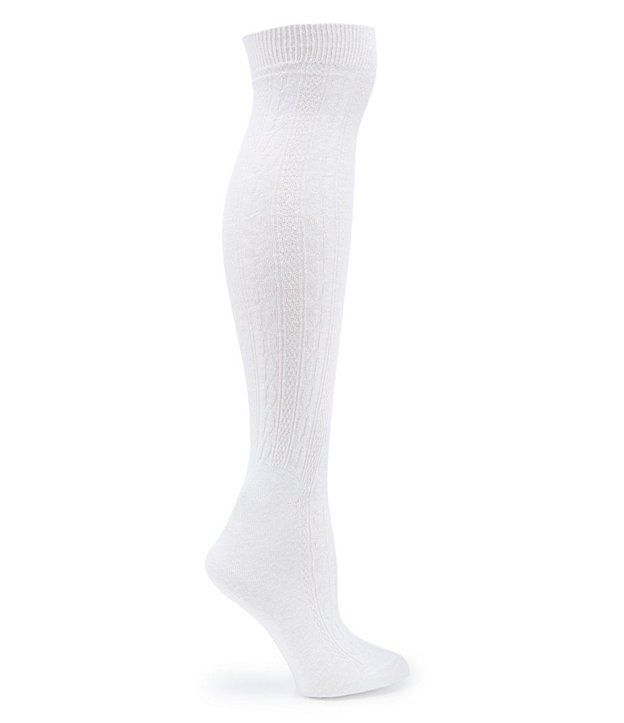 HUE Cable-Knit Knee-High Boot Socks