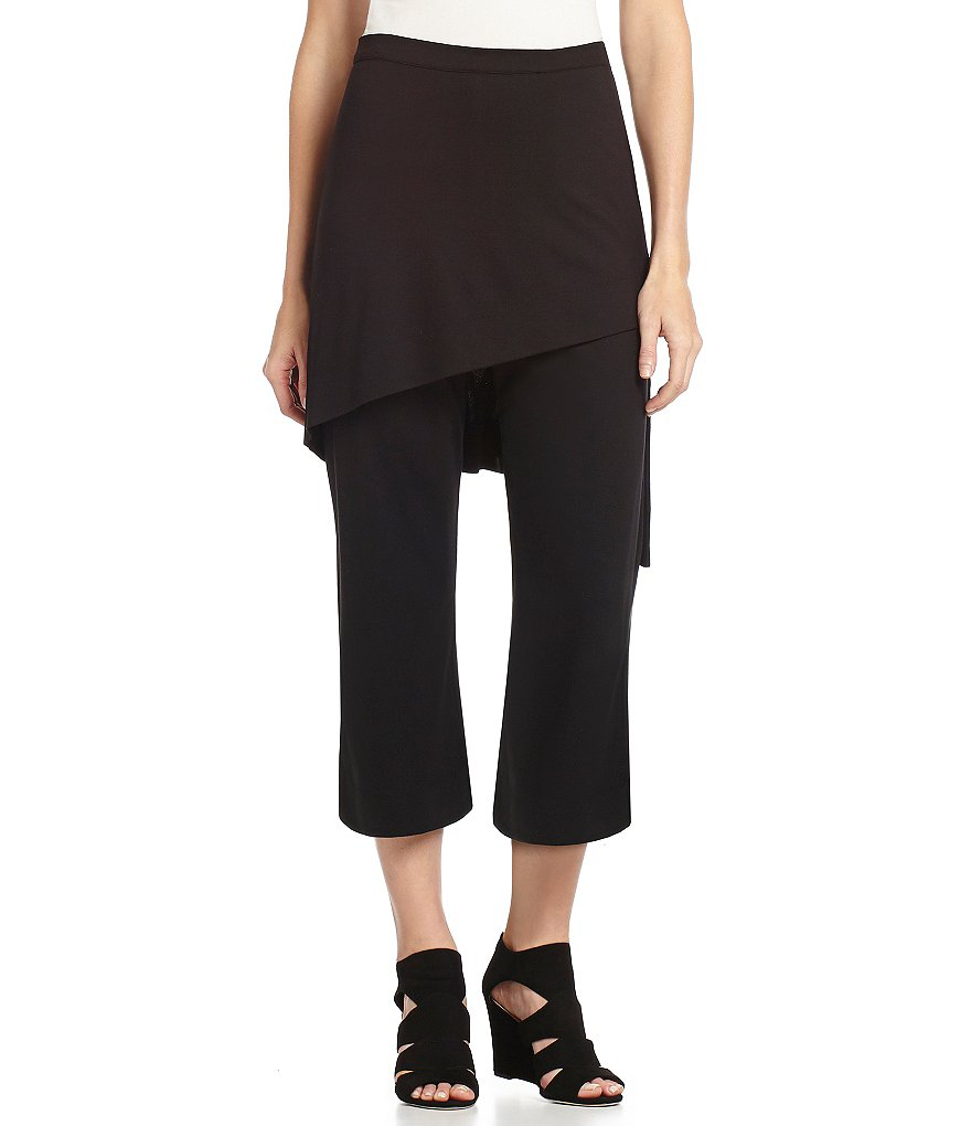 Bryn Walker Asymmetrical Skirted Straight Cropped Ponte Pants