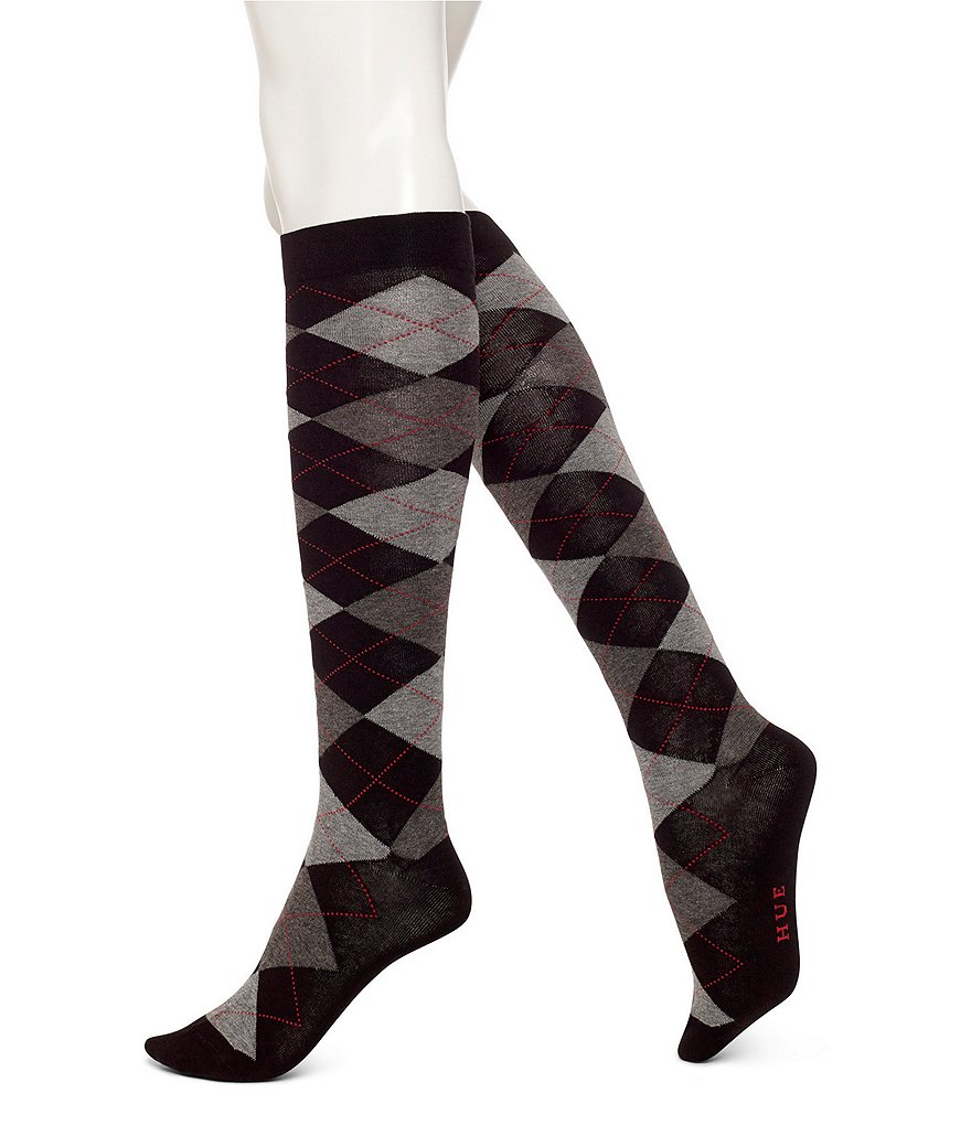 HUE Argyle Knee Socks