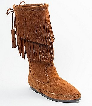 Minnetonka Calf Hi 2-Layer Fringe Boots