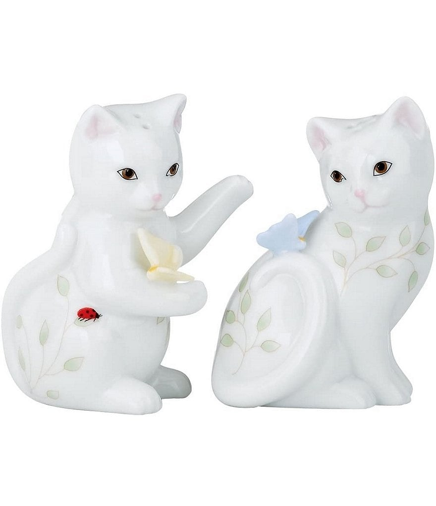Lenox Butterfly Meadow Porcelain Kitten Salt & Pepper Shaker Set