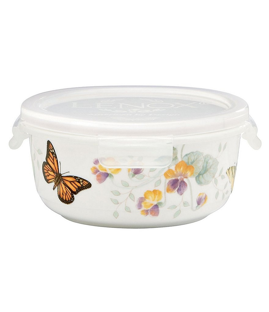 Lenox Butterfly Meadow Floral Porcelain Round Serve & Store Container with Plastic Lid