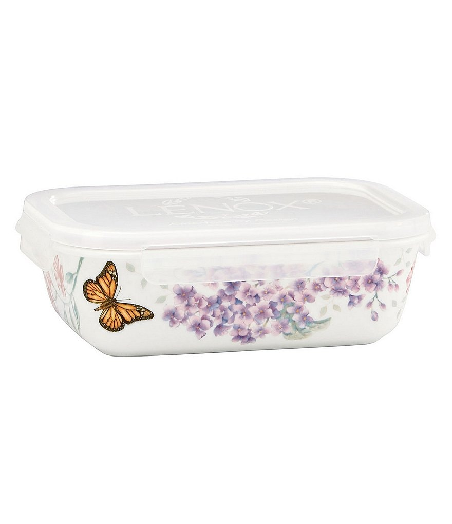 Lenox Butterfly Meadow Floral Porcelain Rectangular Serve & Store Container with Plastic Lid