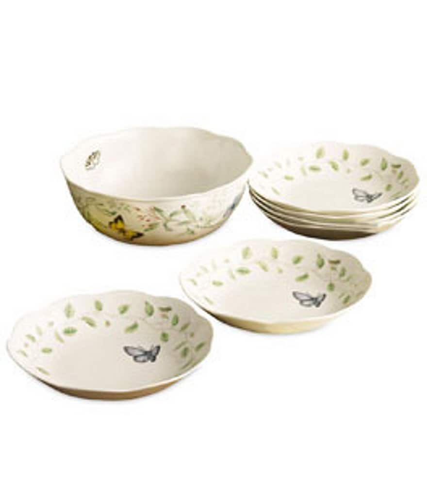 Lenox Butterfly Meadow Floral Porcelain 7-Piece Pasta Bowl Set