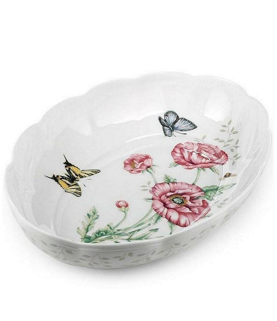 Lenox Butterfly Meadow Floral Scalloped Porcelain Oval Baker