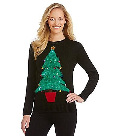Lisa international light up tree christmas sweater dillards com