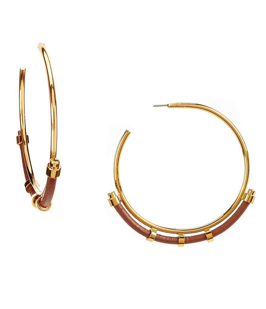 Vince Camuto Leather-Trimmed Hoop Earrings