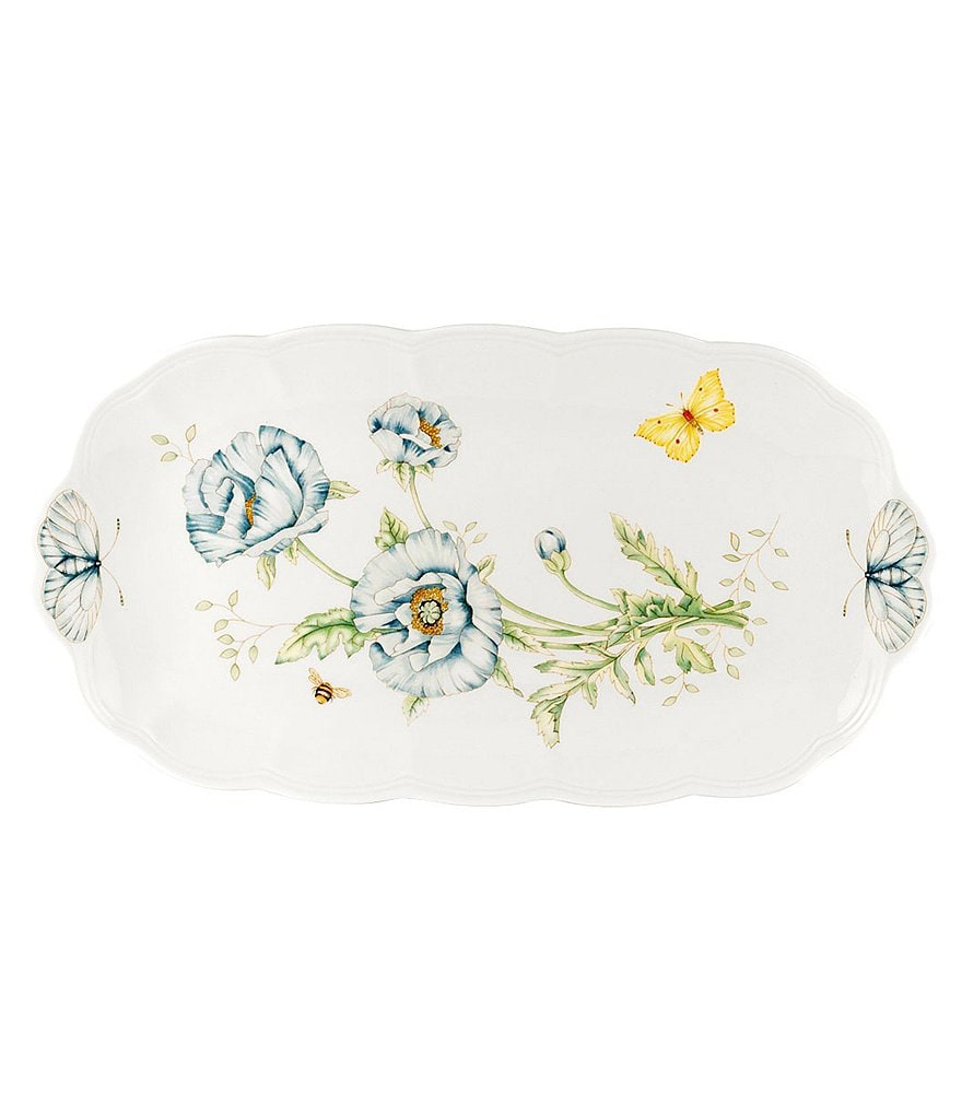 Lenox Butterfly Meadow Floral Porcelain Scalloped Oblong Sandwich Tray