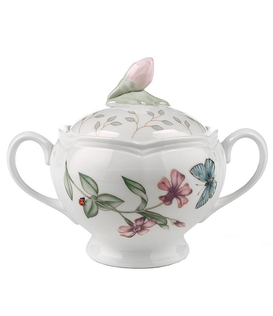 Lenox Butterfly Meadow Floral Porcelain Sugar Bowl with Lid
