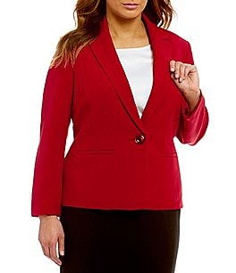 Kasper Plus Stretch Crepe Seamed Blazer Image