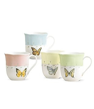Lenox Butterfly Meadow Floral Porcelain Mugs, Set of 4