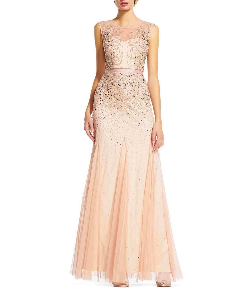 Adrianna Papell Petite Beaded Illusion Gown
