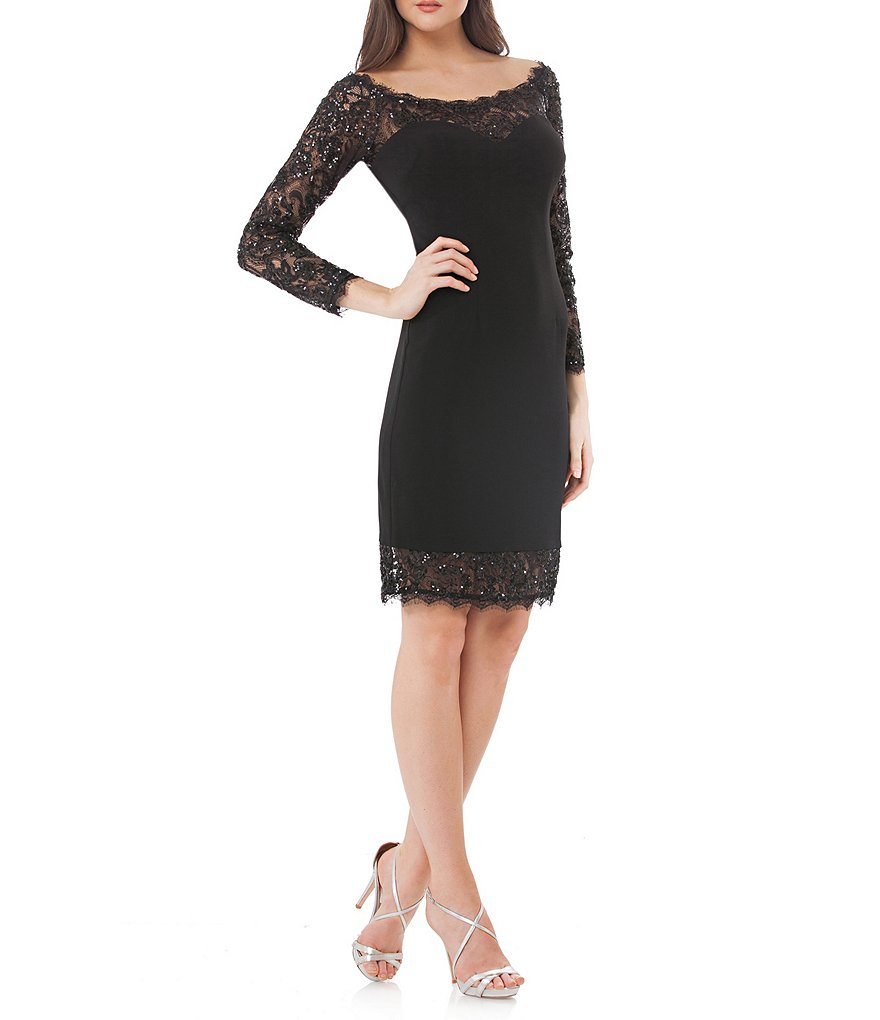 JS Collections Open Neck Scalloped Lace Sheath Dress