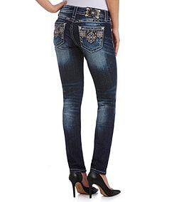 Miss Me Mid-Rise Tribal Skinny Jeans
