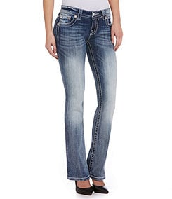Miss Me Mid-Rise Wing Pocket Bootcut Jeans