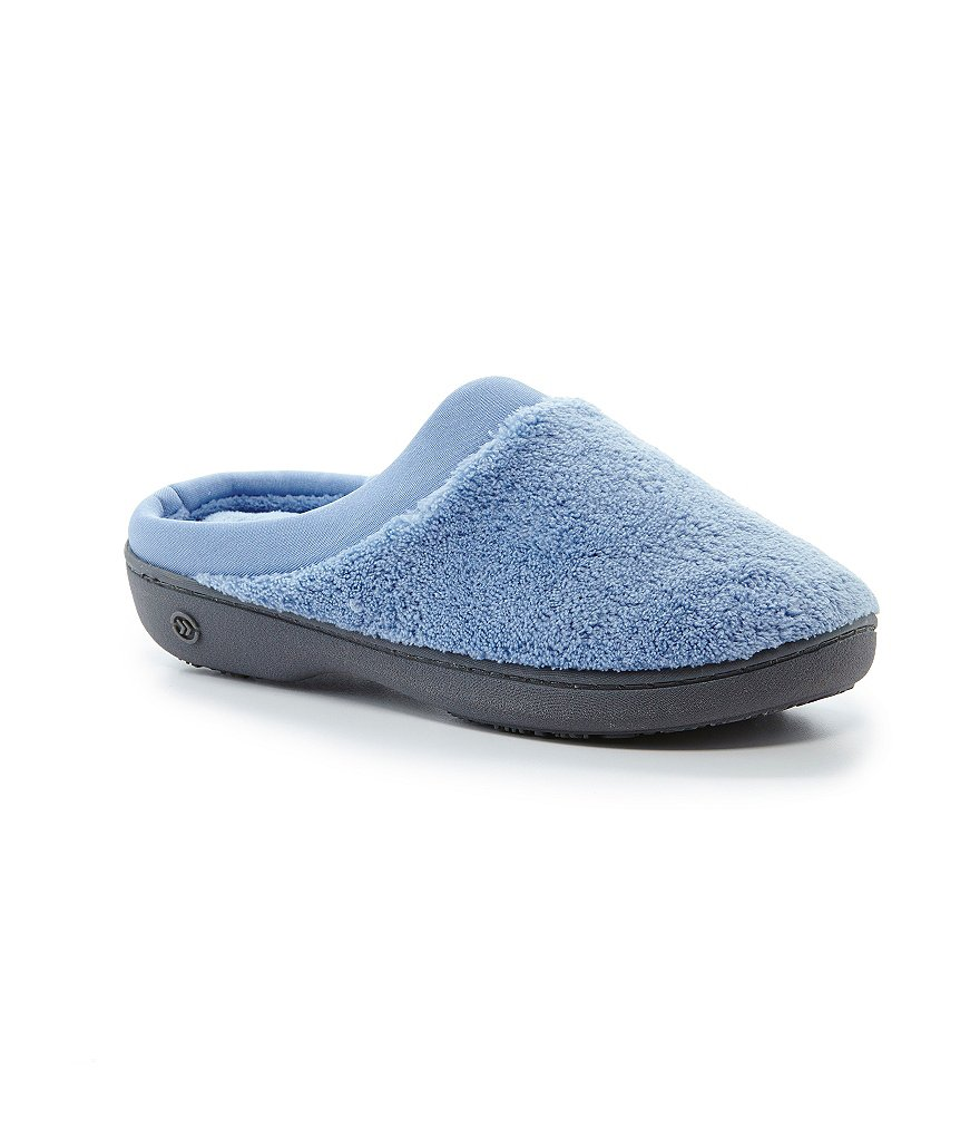 Isotoner Microterry Pillow Step Satin Cuff Clog Slippers