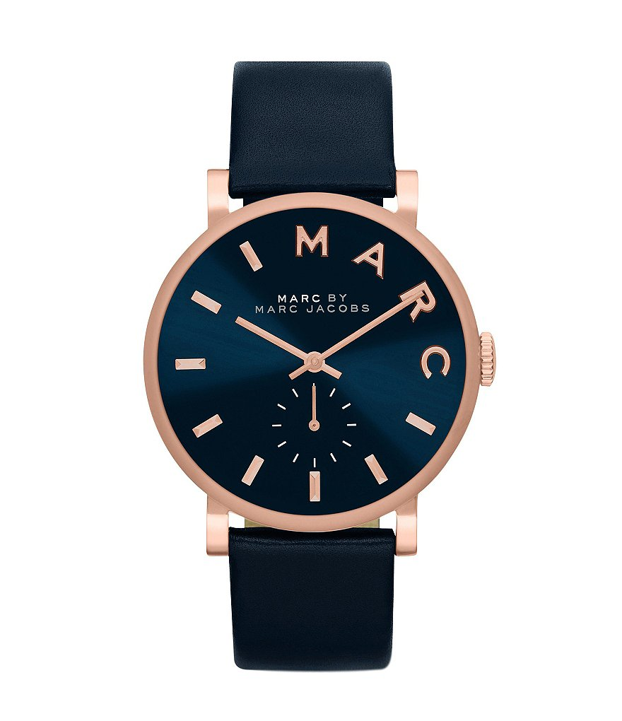 Marc Jacobs Baker Leather Strap Stainless Steel Chronograph Watch