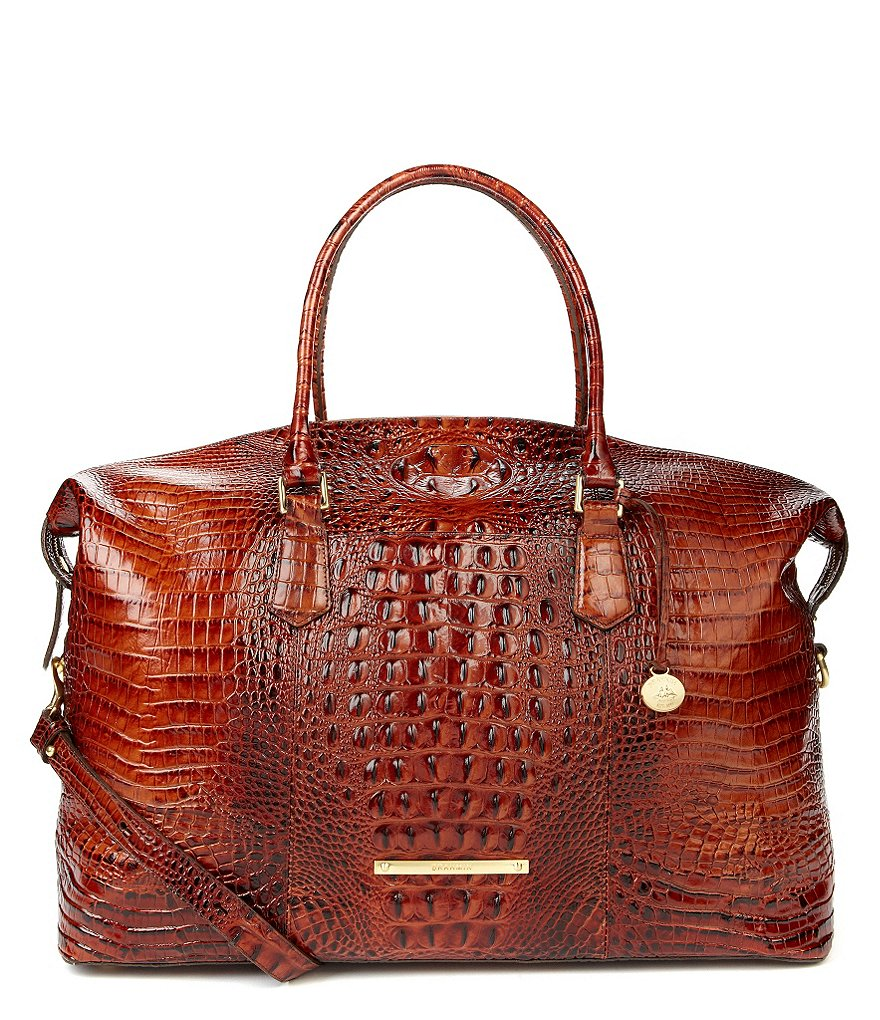Brahmin Melbourne Collection Duxbury Crocodile-Embossed Weekender