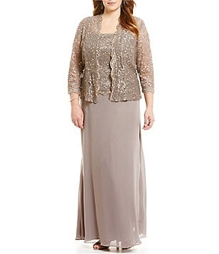 Ignite Evenings Plus Beaded Lace Jacket Dress