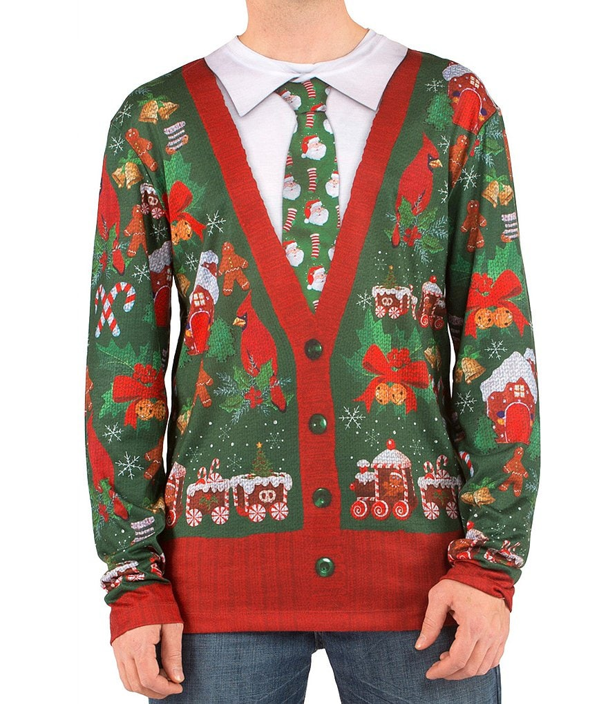 Faux Real Ugly-Christmas-Sweater-Cardigan Long-Sleeve Graphic Tee