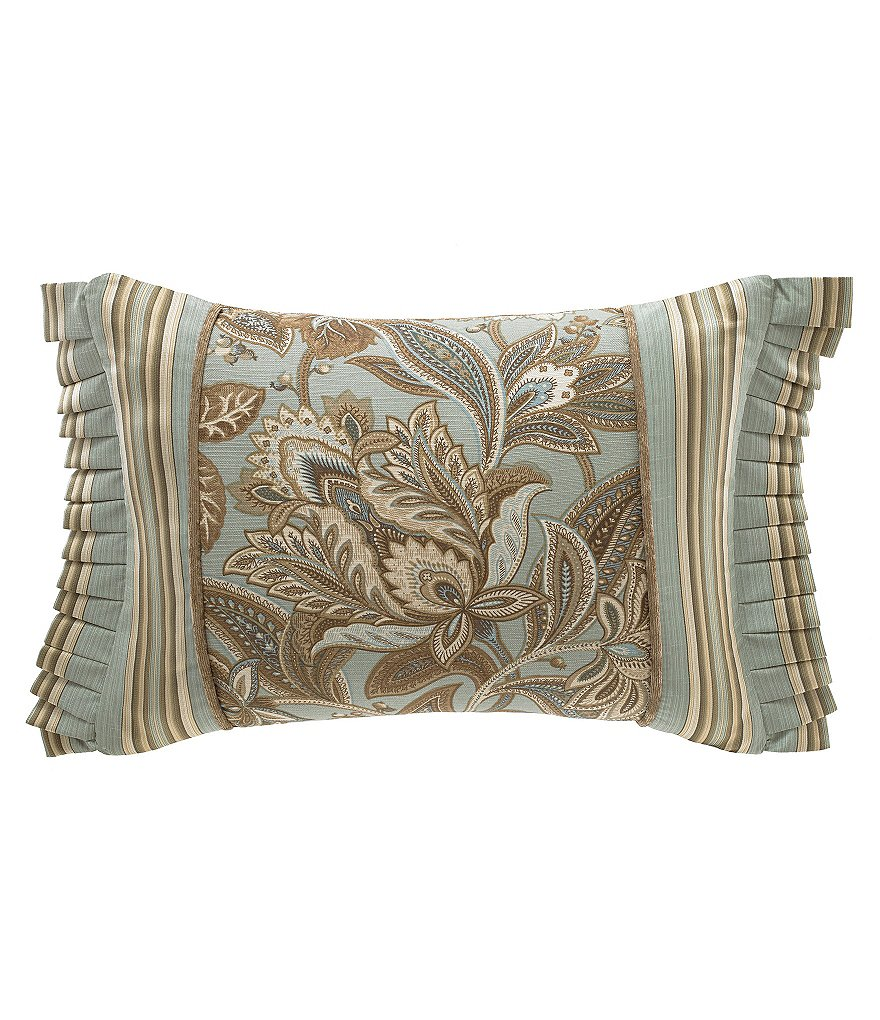 J. Queen New York Barcelona Pleated Jacobean & Striped Linen & Cotton Boudoir Pillow