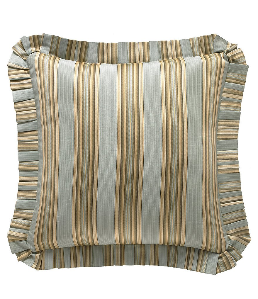 J. Queen New York Barcelona Ruffled Striped Linen & Cotton Euro Sham