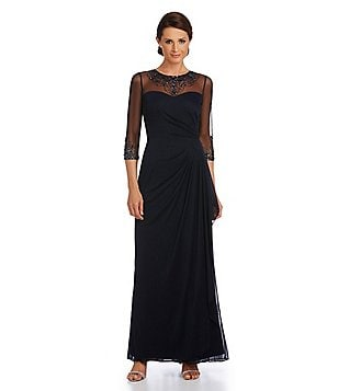 Patra Beaded Matte Chiffon Gown
