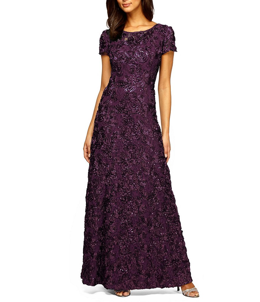 Alex Evenings Sequined Lace Rosette Rose Gown Dillards