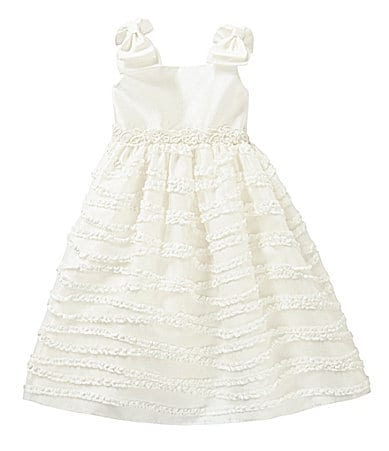 Sweet Heart Rose 2T-6X Ruched-Ruffle Satin Dress
